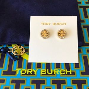 Tory Burch Crystal Logo Circle Stud Earring -gold